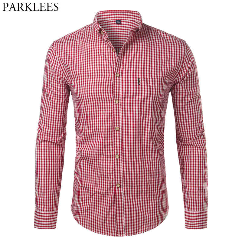 Mens Plaid Katoen Casual Slim Fit Lange Mouw Button Down Jurk Shirts 2018 Mode Mannen Werken Business Merk Shirt Chemise homme