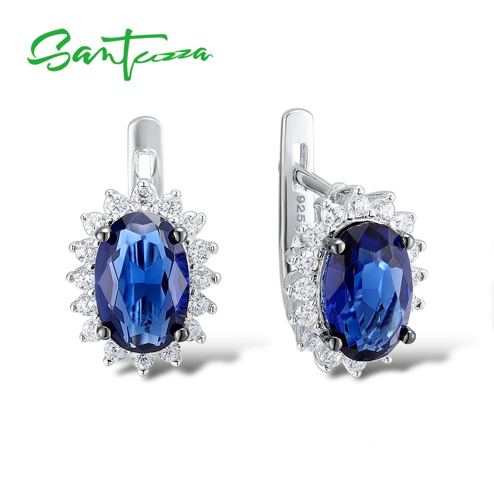 все цены на Santuzza Silver Stud Earrings for Women Blue Stone White Cubic Zirconia Ladies Pure 925 Sterling Silver Party Fashion Jewelry онлайн