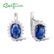 Santuzza Silver Stud Earrings for Women Blue Stone White Cubic Zirconia Ladies Pure 925 Sterling Silver Party Fashion Jewelry