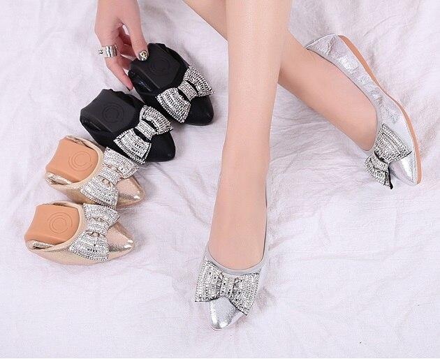 Or silver Argent 43 34 Bout Respirant noeud La Microfibre Chaussures Plus Avec Danse Cristal Arc Femmes Taille Patchwork Noir Pointu gold Appartements Black BqFF6p