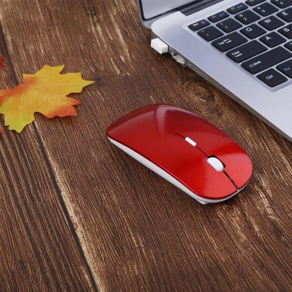 2.4GHz ワイヤレス光学式マウス 4 キーコンピュータ PC マウス USB 2.0 人間工学的デザイン超スリムファッションマウス赤、青グリーン