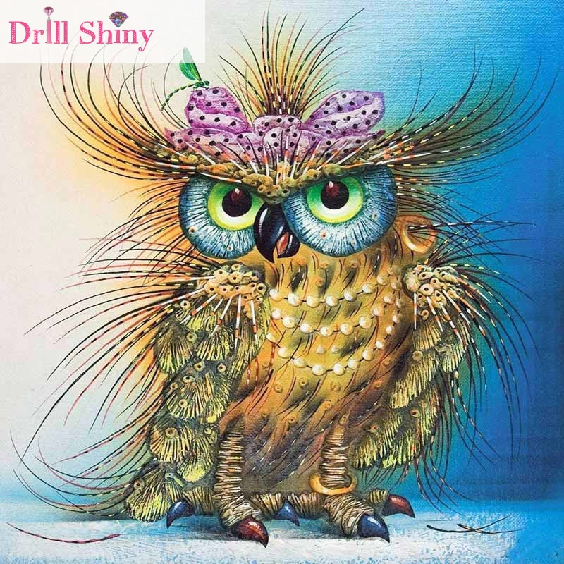 CNA 5D DIY Diamantová malba Sova Animal Embroidery Full Mosaic - Umění, řemesla a šití