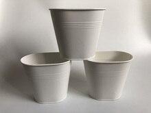 10 Teile/los D12XH11CM Weiß Metall Vase Kleine Oval Vase Hochzeit Dekorative Töpfe Reine Mittelstücke SF 0516