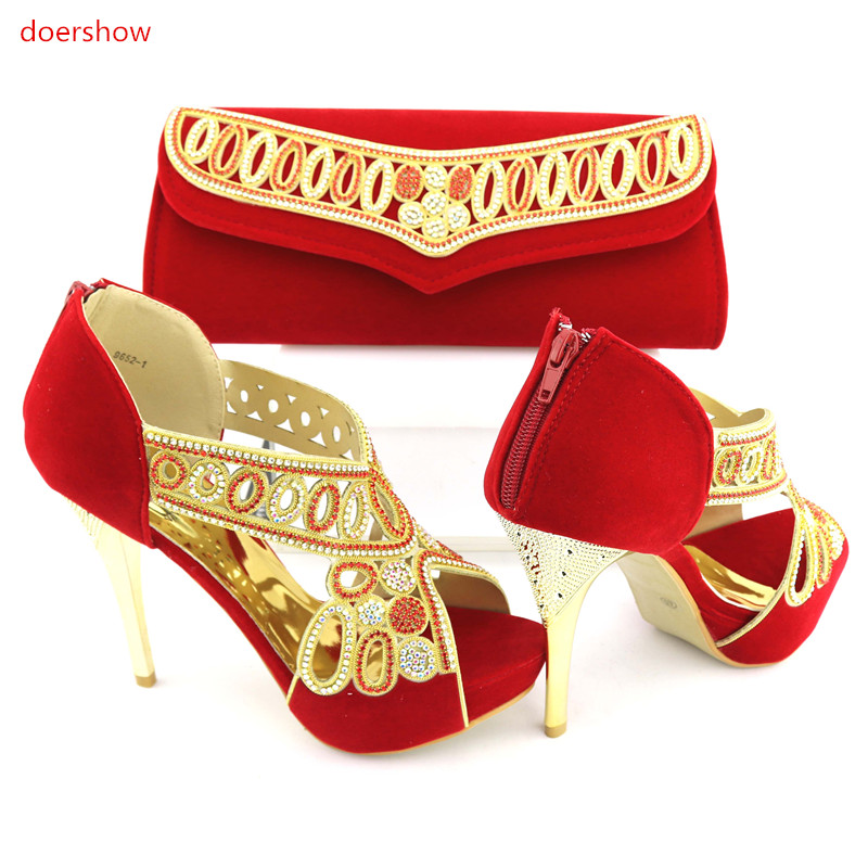 doershow Nice Design red Italian Shoes With Matching Bags Latest Rhinestone African Women Shoes and Bags Set For Sale NJ1-11 stylish women s satchel with rhinestone and rivet design