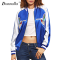 2017 Donnalla Women Jacket Blue Color Block Patchwork Long Sleeve Zipper Embroidery Bomber Jacket Casual Female Coat Outwear