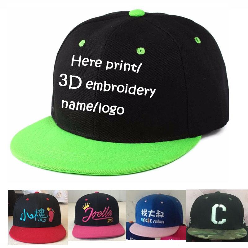 Free Kids Cap Son Name Baby Hat Custom 3D Stitch Snapback Hats Embroidery Child Adjust Men Children Baseball Caps Flat Boys