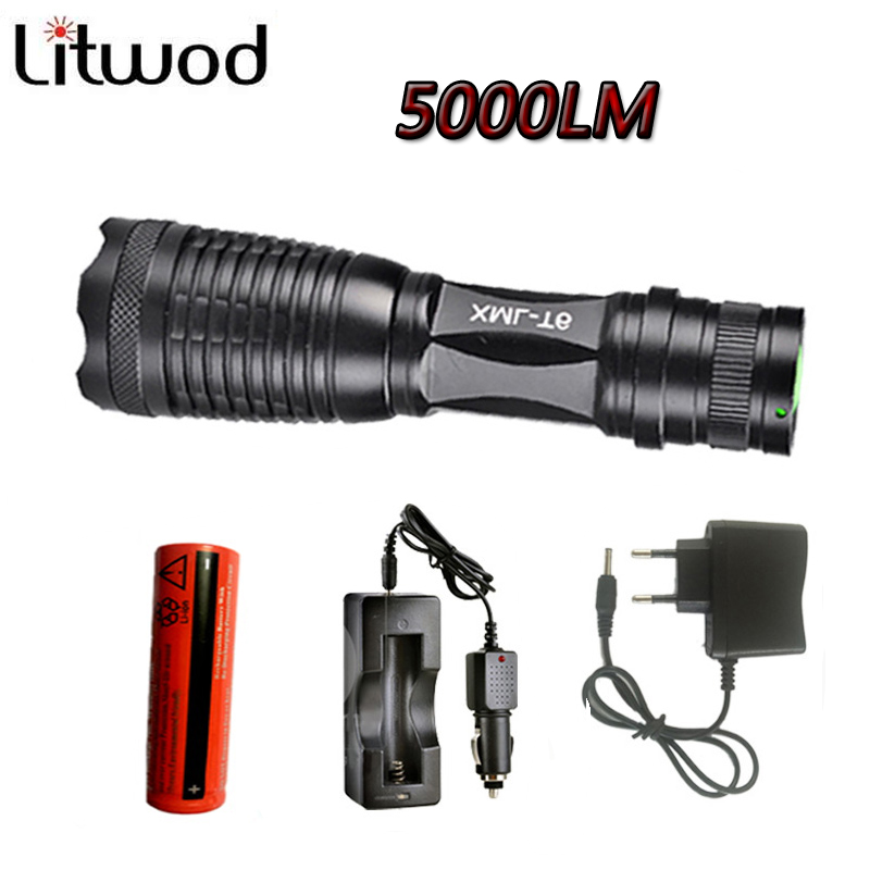 led flashlight torch XML-T6 5000 lumens adjustable light torch for 3A 18650 battery rechargeable torch with car charger Z30 cree xml t6 3000lm adjustable led flashlight led torch car charger battery charger 18650 rechargeable battery holster zk10