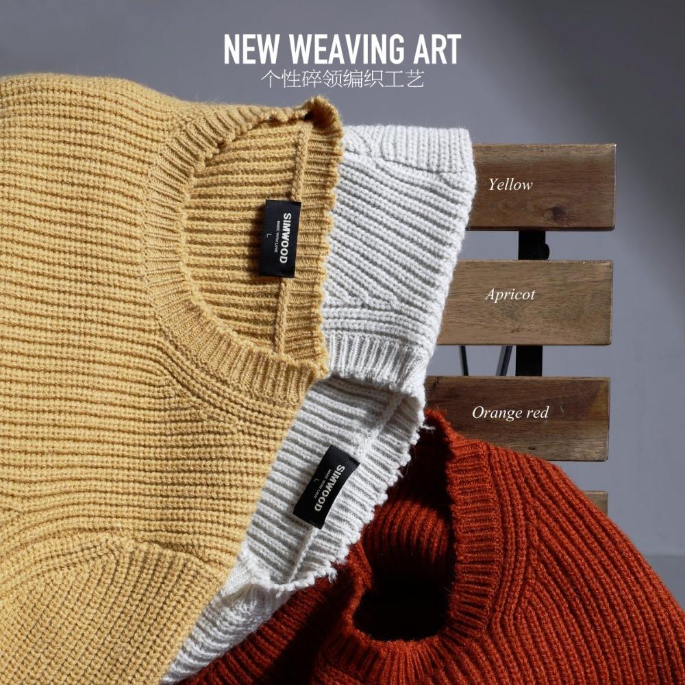 SIMWOOD 2019 hiver nouveau pull pour hommes pull en laine tricoté chandail mâle décontracté mode haute qualité marque vêtements 180538
