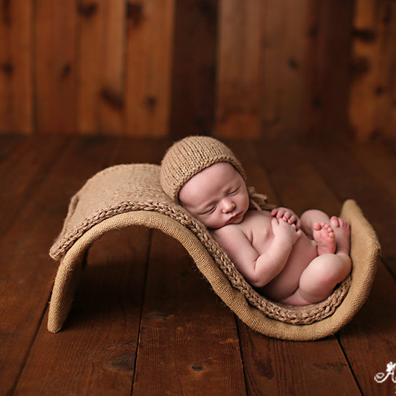 New Newborn Photography Props 3pcs Set S-type Props+ Blankets+hats Full Set Baby Photography Assisted Modeling Shooting Props