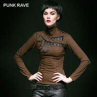 PUNK RAVE Steampunk Temperament Stripe Gear Printing Plaid Turtleneck Knit Female T shirt women harajuku punk gothic Novelty top