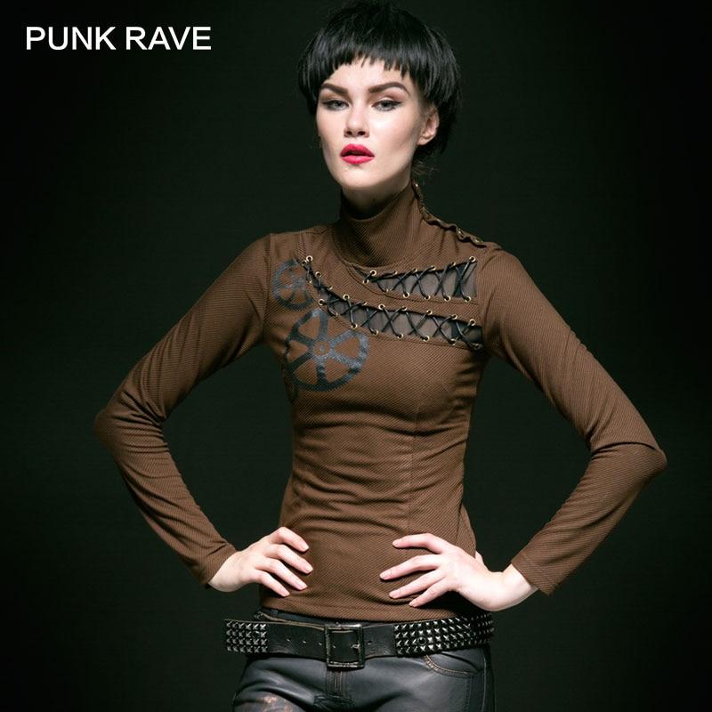 PUNK RAVE Steampunk tempérament rayure impression à carreaux col roulé tricot femme T-shirt femmes harajuku punk gothique nouveauté haut