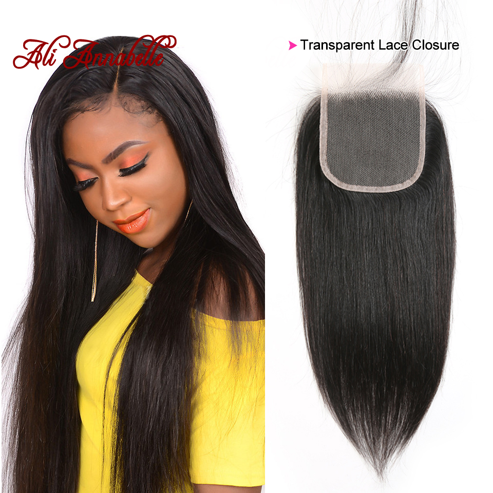 Straight Hair Transparent Lace Closure 4 4 Swiss Lace Free Middle Part Brazilian Straight Human Hair