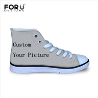 FORUDESIGNS Custom Images or Logo Flats High Top Canvas Children Shoes Kids Girls Boys Casual Sneakers Lace up Student Walking