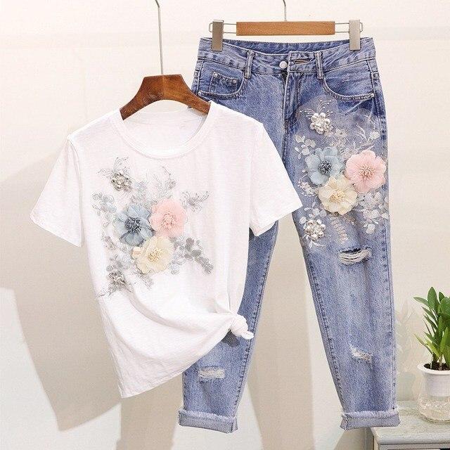 Women Summer T Shirts Holes Jeans Pants 2 Pieces Sets Casual Flower Embroidery Sets Vintage Applique Outfits
