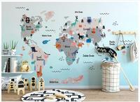 High Quality Custom 3d Wallpaper Murals Hand Painted Cartoon Wallpaper World Animal Map Children Room Mural