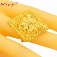 Adixyn Square Fashion Gold Ring For Women Gold Color India Jewelry Engagement Ring Party Accessories N04084