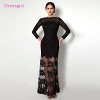 Black Evening Dresses 2018 Mermaid Boat Neck 3 4 Sleeves Appliques Backless Women Long Evening Gown