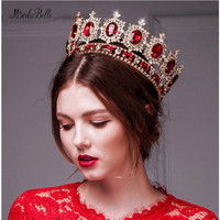 modabelle New Red Tiara Women Vintage Headband Rhinestone Crystal Bridal Jewelry Baroque Crown Blue Princess Crown Green