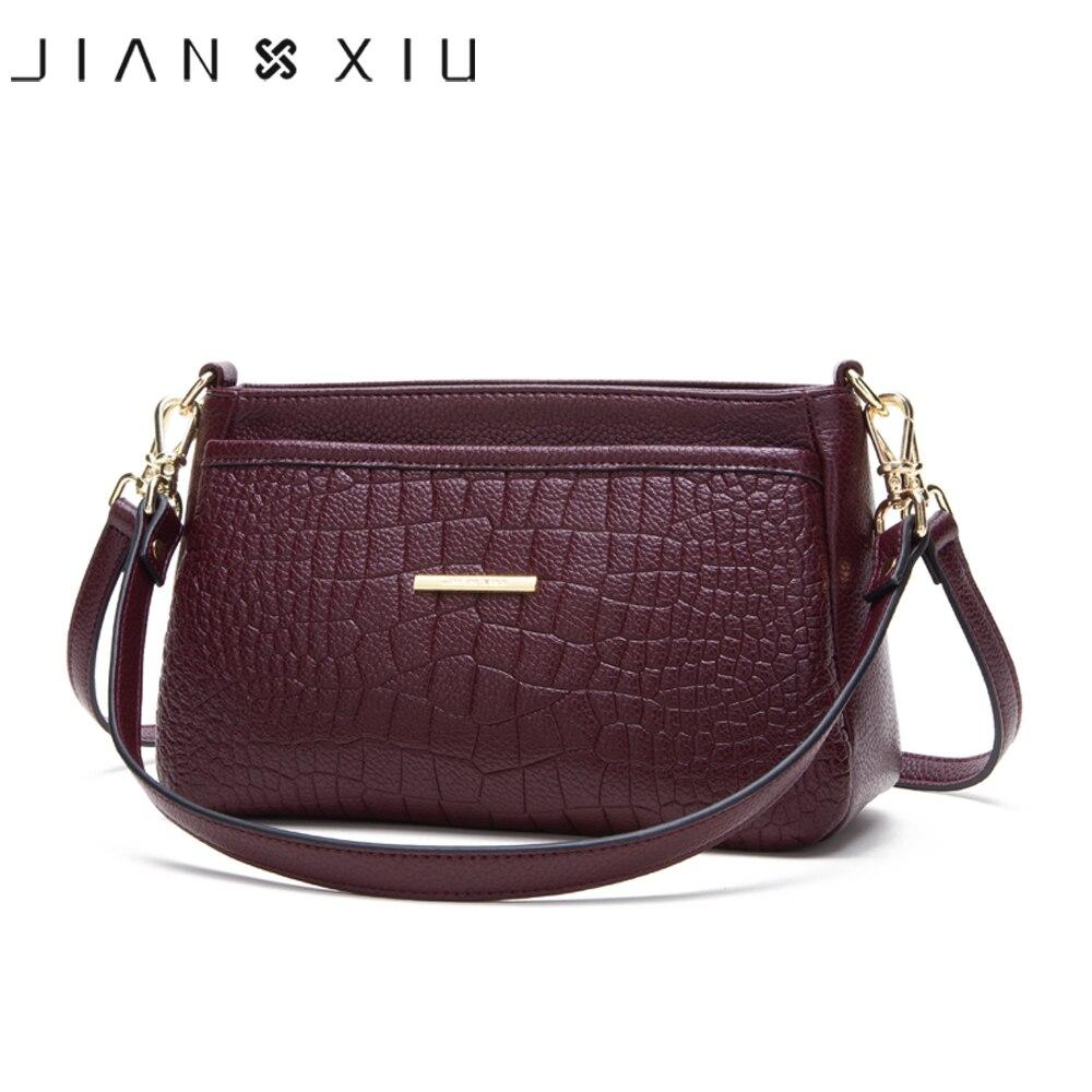 JIANXIU Brand Female Shoulder Crossbody Crocodile Pattern Genuine Leather Handbag 2019 New Women Messenger Bags Small