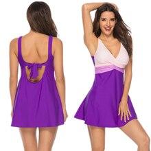 Sexy Purple Swimsuit Plus Size Swimwear Women Two-Piece Suits Skirt Dress Monokini Bathing Suit Swimdress  Brazil
