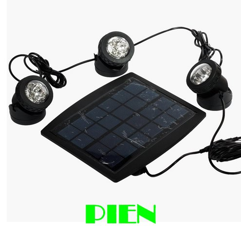 ФОТО Solar Powered 3 Submersible led Lamps 18 LEDS RGB Color Changing floodlight for outdoor jardin swimming pool by DHL 6 set