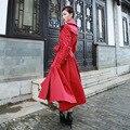 Осень Зима Ветровка 2016 Новая Мода Сверхдальние Женщина Траншеи Элегантный Сплошной Цвет Двубортный Женский Пальто Красный