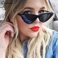 Sexy Cat Eye Sunglasses Women Black White Plastic Sun Glasses Superstar Branded Small Cateye Shades Retro Mirror Goggles Oculos