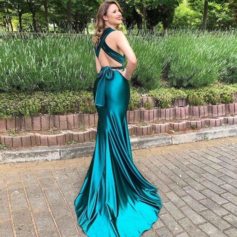 8a66414428 5% Tobinoone Elegant Backless Satin Long Dress Women Evening ...