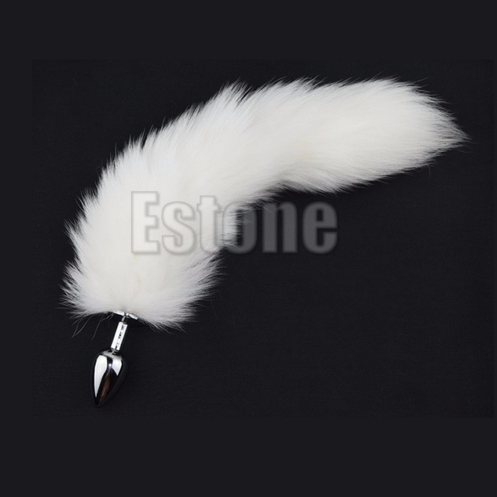 1PC White Fox Tail Butt Metal Plug 35cm Long Anal Sex Toy New Arrival