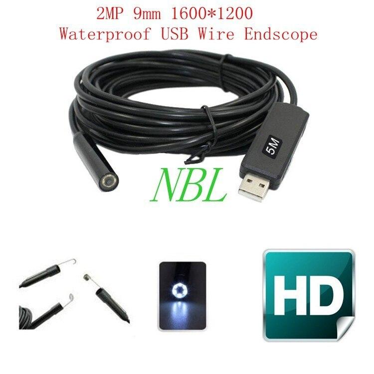 5 M HD Endoscopes Étanche Fil Endoscope 1/6 CMOS 2MP 9mm 6 Led USB Endoscope Caméra Haute Résolution 1600*1200