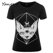 T-Shirts Alternative Crescent Moon Sphynx Cat T Shirt Hipster Indie Black White Mens Womens Cute Festival Halloween