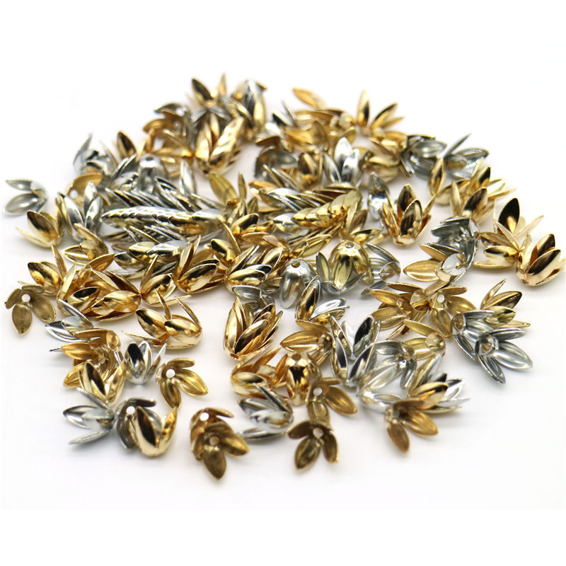 Flower-Petal Charms Spacer Beads-Caps Jewelry-Making Silver Gold-Plated Four-Leaves Wholesale