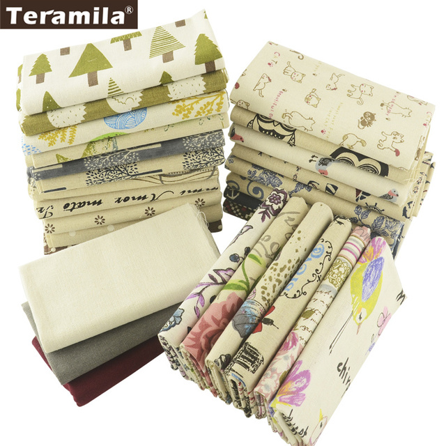 Teramila Cotton Linen Fabric 28 Muti-color Different Design Fat Quarter Bundle Meter  Pillow Tablecloth Crafts Decoration