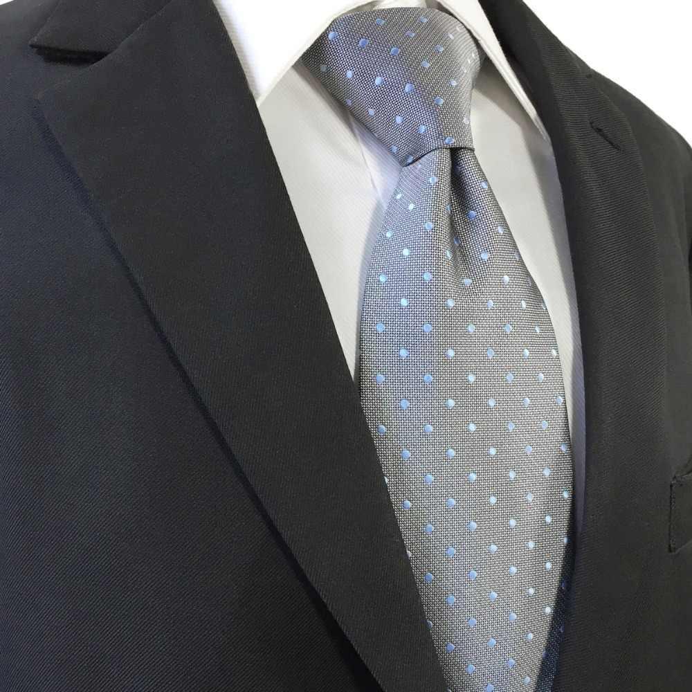 0b348e692e36f ... D21 Grey Dots Ties for Men Silk Fashion Extra Long Necktie Pocket  Square Set Slim ...