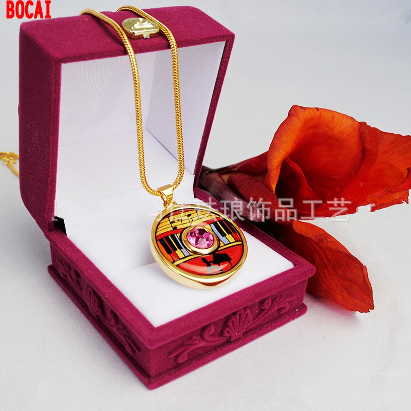 Cloisonne enamel colour diamond pendant sautoir mixed batch of gold plated euramerican style 10 100 yuan