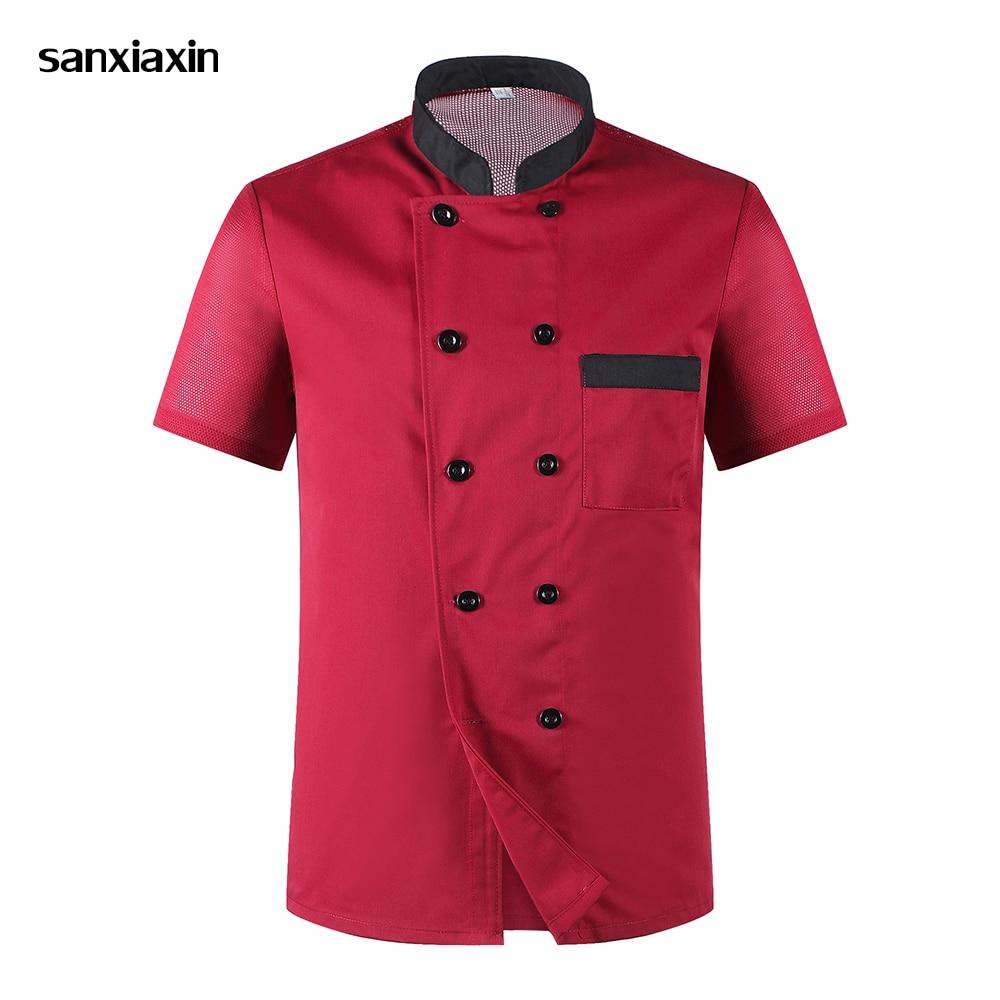 Sanxiaxin Wholesale Chef Jacket Hotel Chef's Uniform Short Sleeve Unisex Breathable Workwear Shirt Hotel Uniform  Chef Uniforms