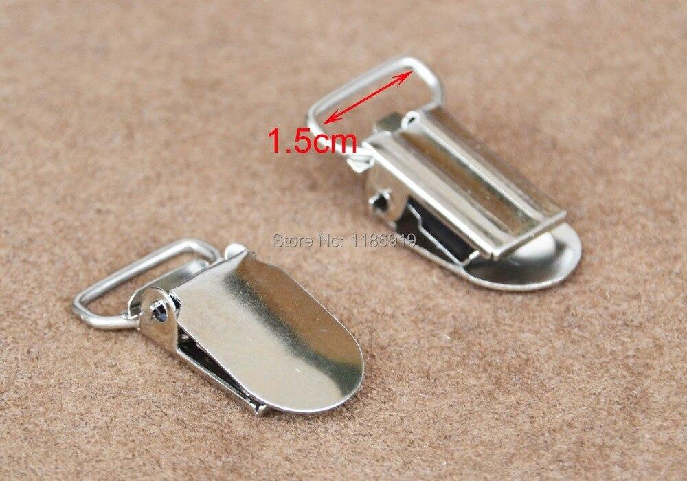 wholesale Inner 1.5cm,40 pcs/lot,silver Lead Free Metal Suspender Holder (No Plastic Insert) braces clip suspender gallus clamp