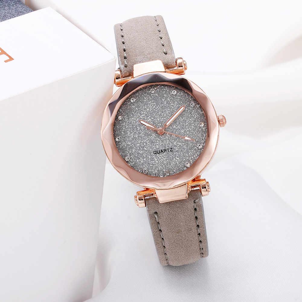 Повседневное для женщин Романтический Звездное небо наручные часы кожа горный хрусталь дизайнер дамы часы простое платье Gfit Montre Femme @ 50