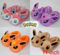 3D Anime Pokemon Go Eevee Flareon Sylveon Espeon Women Men Unisex Thick Cotton-padded Slippers Plush Stuff Household Shoes