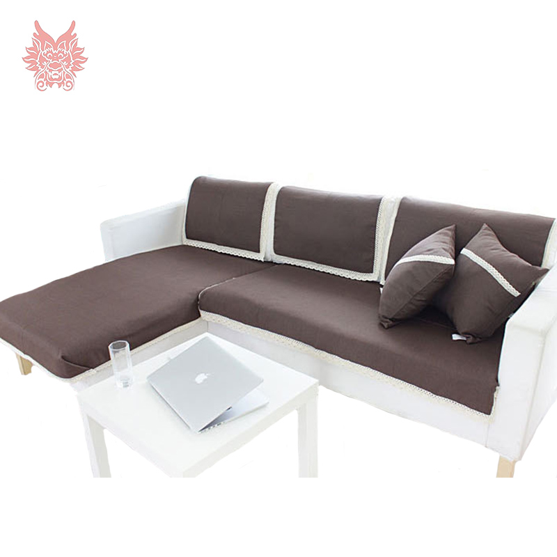 High Grade Home Textile Coffee Solid Cotton/linen Fabric With Lace  Patchwork Slip Sofa Cover Modern Style Sofa Towel SP1053
