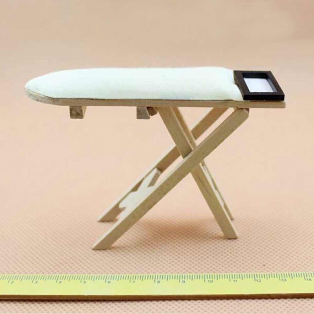 1: 12 báscula casa de muñecas miniatura de hierro con planchar muñeca de mesa casa muebles casa de muñecas habitación decoración niños niñas juguete regalo