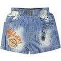 Девушки вышивка Letter pattern короткие Джинсы с карманами, эластичный пояс, кнопки для малыша дети девушка XML-36777