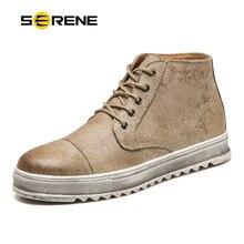 76c95c4a6 SERENO Da Marca Homens Sapatos de Couro Retro Martin botas de Trabalho de  Segurança Moda botas