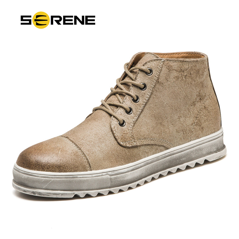 SERENE Brand Men Shoes Leather Retro Martin Safety Work Fashion Boots Mens Casual Desert Bot Cowboy Ankle Boot Man Working Shoe