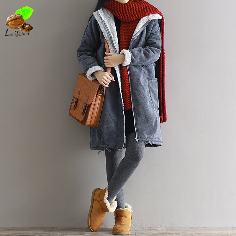 Women Casual Autumn Winter Loose Thick Long Cotton Coat Jacket Corduroy Mori Collocation Cozy Jackets Coats with a Hoodies 2016 new mori girl national trend loose plus size with a hood denim autumn and winter women medium long plus cotton thick vest