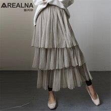 Женская Милая юбка с оборками из тюля, Корейская высокая талия, элегантные длинные макси юбки, Осенние повседневные женские серые черные сетчатые многоуровневые многослойные юбки
