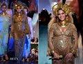 Beyonce Knowles ph17115 2017 Premios Grammy mangas largas totalmente de oro perlas y cristales vestidos de noche vestido de beyonce