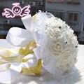 Crema Elegante Abalorios Hechos A Mano Artificial Flor de La Boda Decoración de La Boda Ramo de Flores de La Boda Ramos de Novia