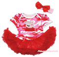 Rosa rosa impressão de camuflagem Bodysuit Red Hot Pettiskirt vestido NB-18Month MAJSA0093 NB-18M
