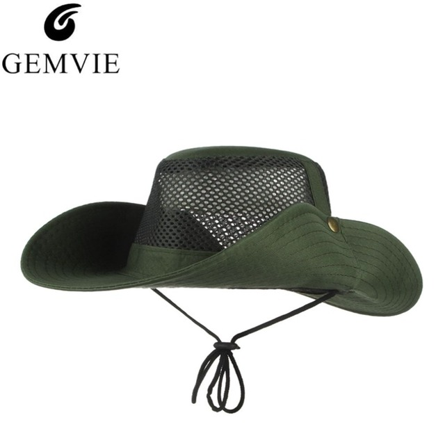 57937e9f6f77 € 3.77  Sombreros de verano para hombres al aire libre pesca senderismo  plegable ala ancha sombreros de sol gorra de pescador Sombrero militar  Boonie ...